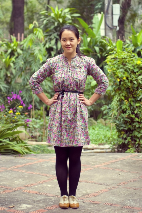 floral dress black tights wingtip oxfords by 14 shades of grey