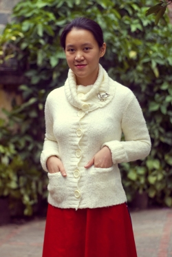 white sweater red skirt by 14 shades of grey