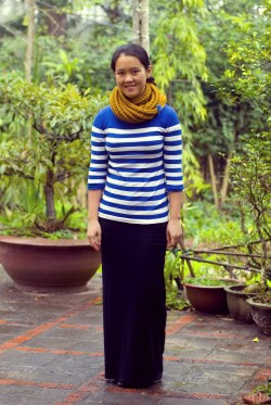 blue striped sweater mustard scarf black maxi skirt by 14 shades of grey