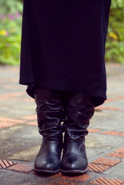 black boots black maxi skirt by 14 shades of grey
