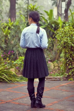 chambray shirt polka dot skirt black boots by 14 shades of grey