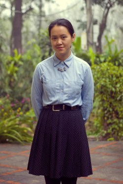chambray shirt polka dot skirt by 14 shades of grey