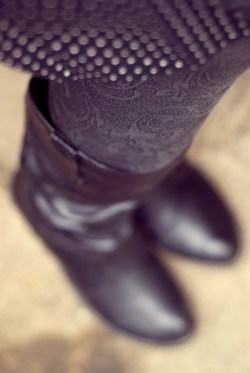 polka dot skirt black boots by 14 shades of grey