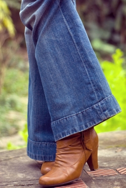 brown booties wide-leg jeans by 14 shades of grey