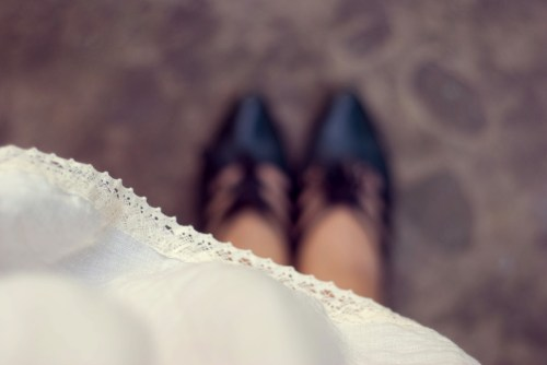 white dress green heels by 14 shades of grey