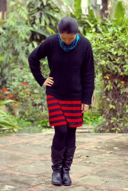 red striped skirt black sweater teal scarf by 14 shades of grey