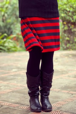 red striped skirt black sweater by 14 shades of grey