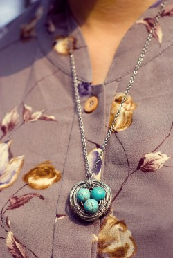 floral blouse turquoise birdnest necklace by 14 shades of grey