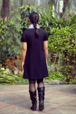 navy shift dress blue scarf black boots by 14 shades of grey