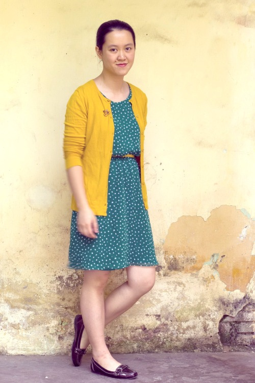 green dress yellow cardigan maroon loafers by 14 shades of grey