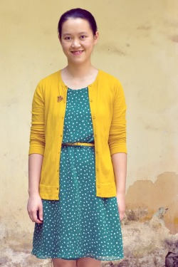 green dress yellow cardigan by 14 shades of grey
