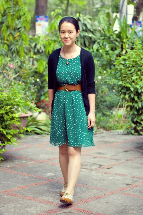 green print dress black cardigan wingtip oxfords by 14 shades of grey