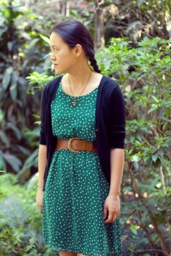 green print dress black cardigan by 14 shades of grey