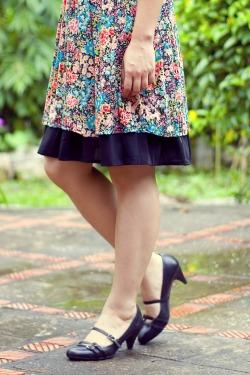 floral dress black skirt black heels by 14 shades of grey