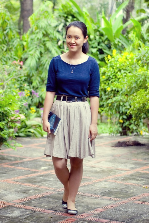 blue shirt khaki skirt captoe flats by 14 shades of grey