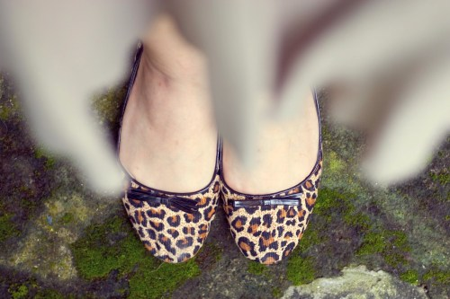 khaki skirt leopard print flats by 14 shades of grey