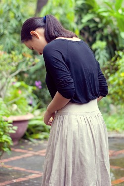 black shirt khaki skirt by 14 shades of grey
