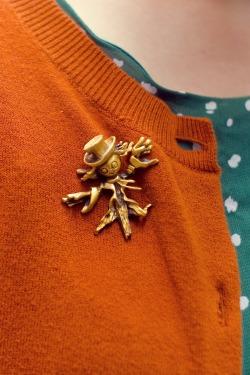 green dress pumpkin cardigan scarecrow brooch by 14 shades of grey