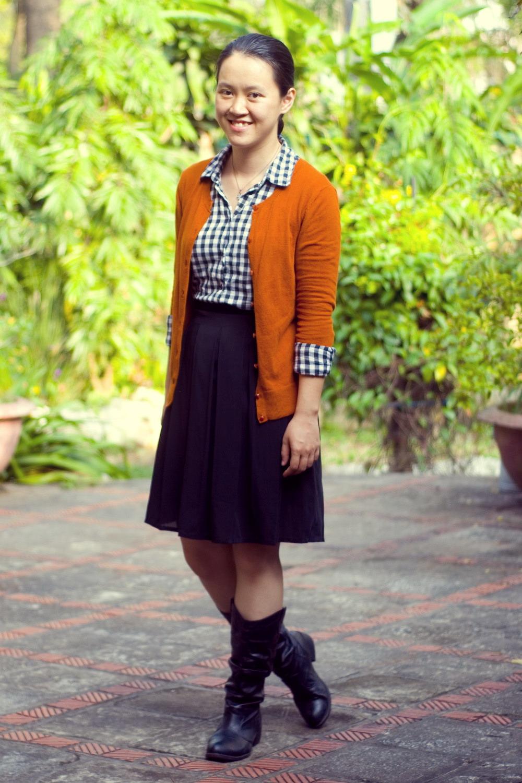 Orange dress what color cardigan goes