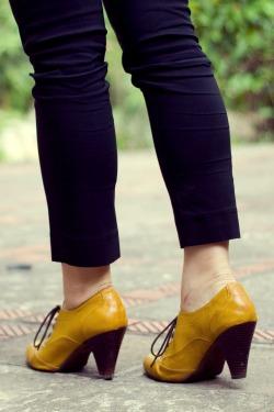 black pants mustard heeled oxfords by 14 shades of grey