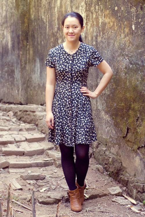floral dress black tights brown ankle boots by 14 shades of grey
