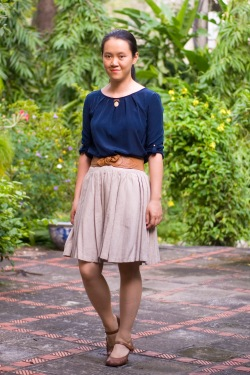 navy blouse khaki skirt brown mary janes by 14 shades of grey