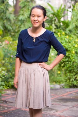 navy blouse khaki skirt by 14 shades of grey