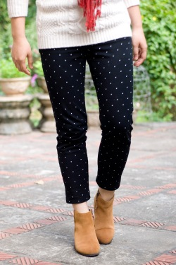 white sweater polka dot pants red scarf brown booties by 14 shades of grey