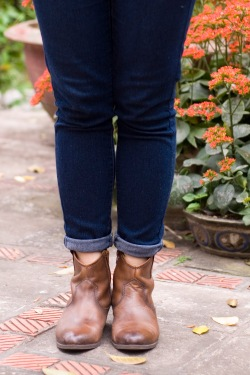 blue jeans brown booties by 14 shades of grey
