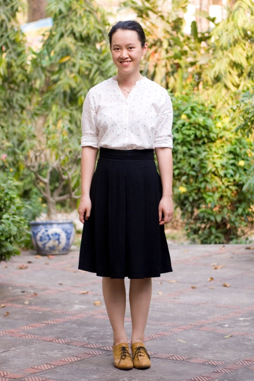 white v-neck button up black skirt yellow heeled oxfords by 14 shades of grey