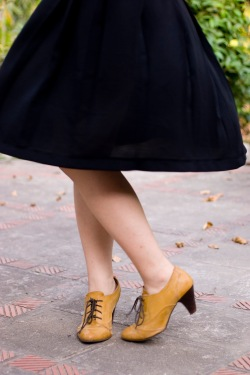 black skirt yellow heeled oxfords by 14 shades of grey