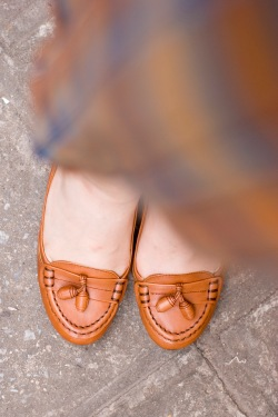 mustard plaid dress brown heeled loafers by 14 shades of grey