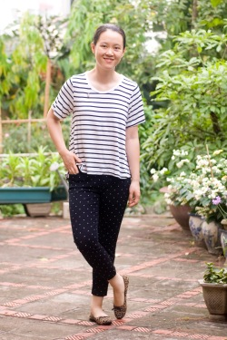 striped tee polka dot pants leopard printed flats by 14 shades of grey