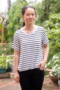 striped tee polka dot pants by 14 shades of grey
