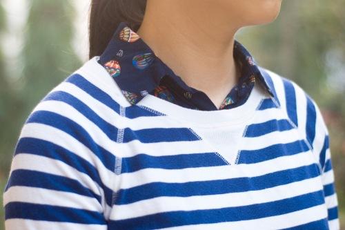 printed shirt blue striped sweatshirt by 14 shades of grey